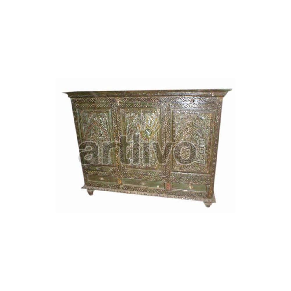 Antique Indian Chiselled aristocratic Solid Wooden Teak Sideboard