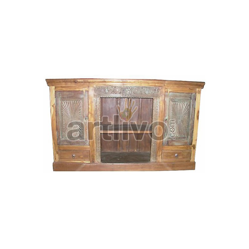Antique Indian Engraved Extravagant Solid Wooden Teak Sideboard