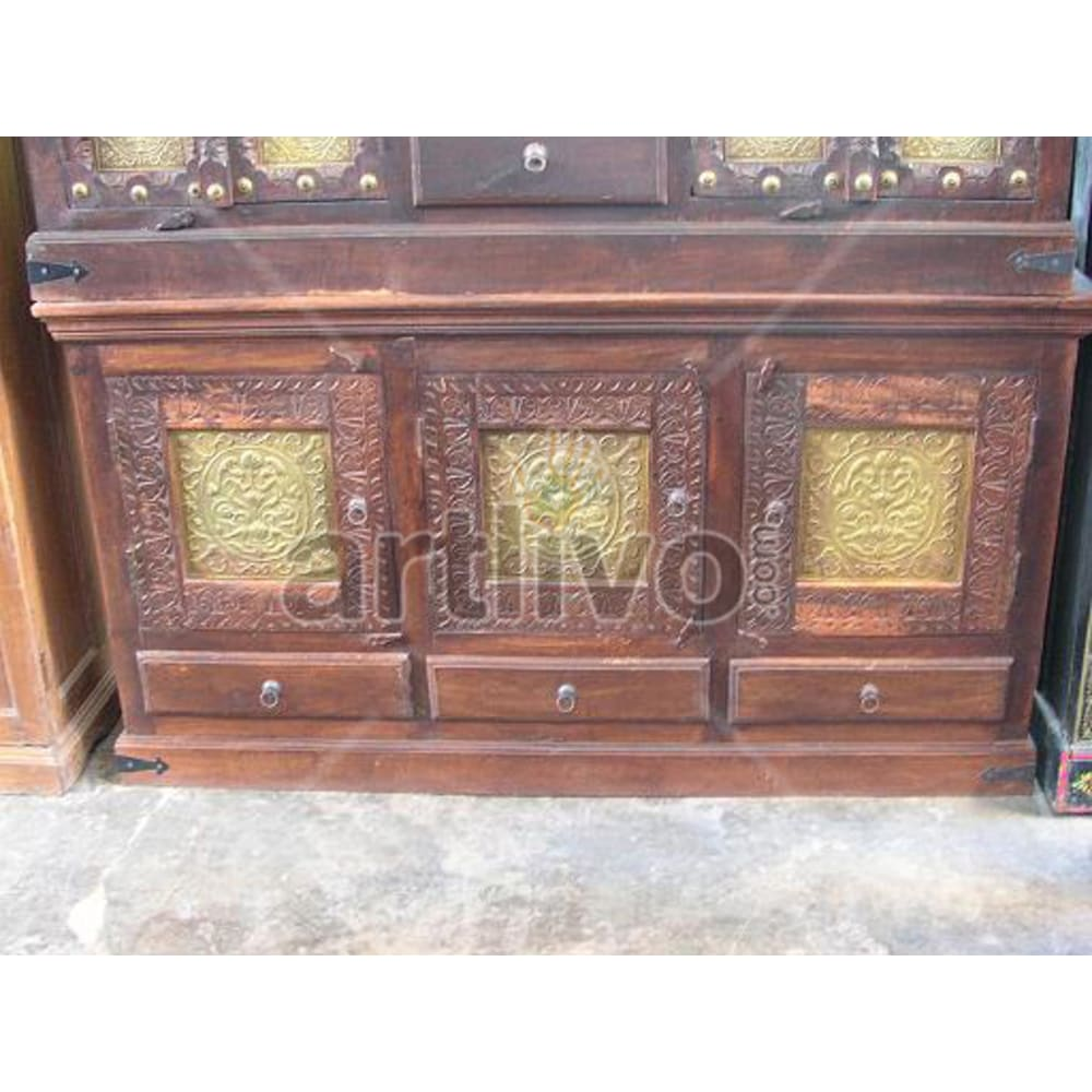 Antique Indian Engraved Luscious Solid Wooden Teak Sideboard