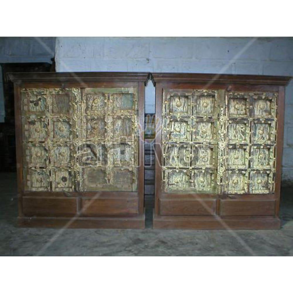 Antique Indian Sculpted Royal Solid Wooden Teak Sideboard