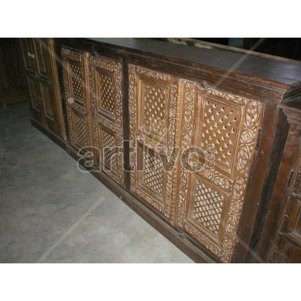 Antique Indian Sculpted aristocratic Solid Wooden Teak Sideboard