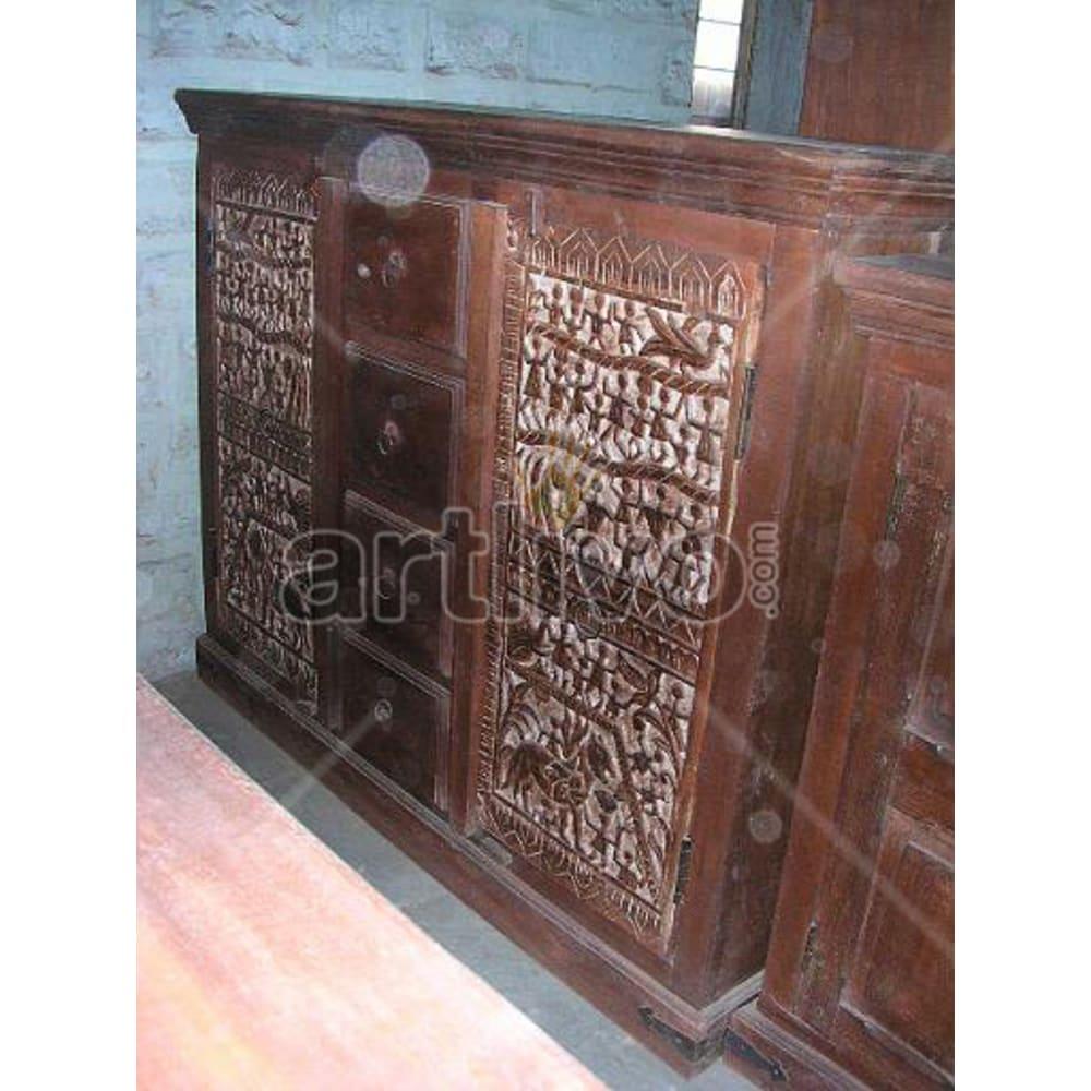 Antique Indian Sculpted stately Solid Wooden Teak Sideboard