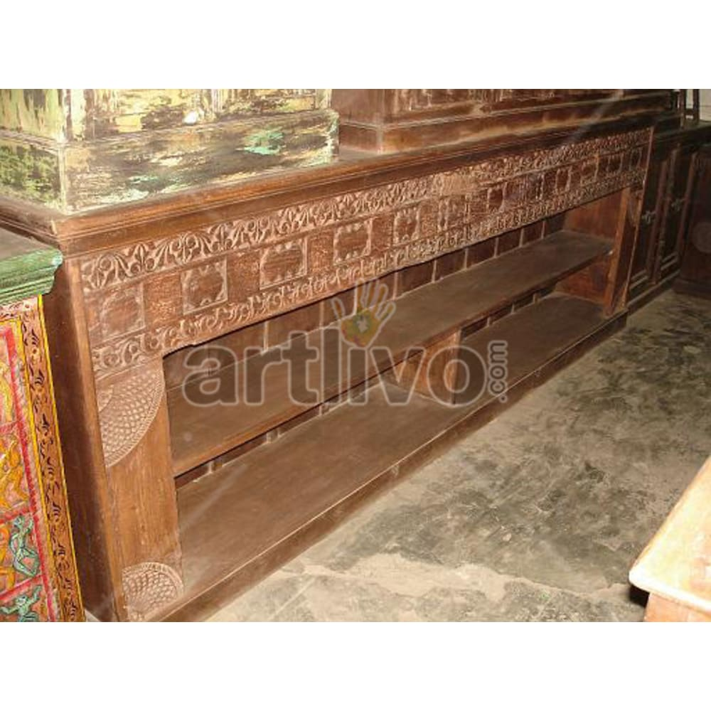 Old Indian Beautiful magnificent Solid Wooden Teak Sideboard