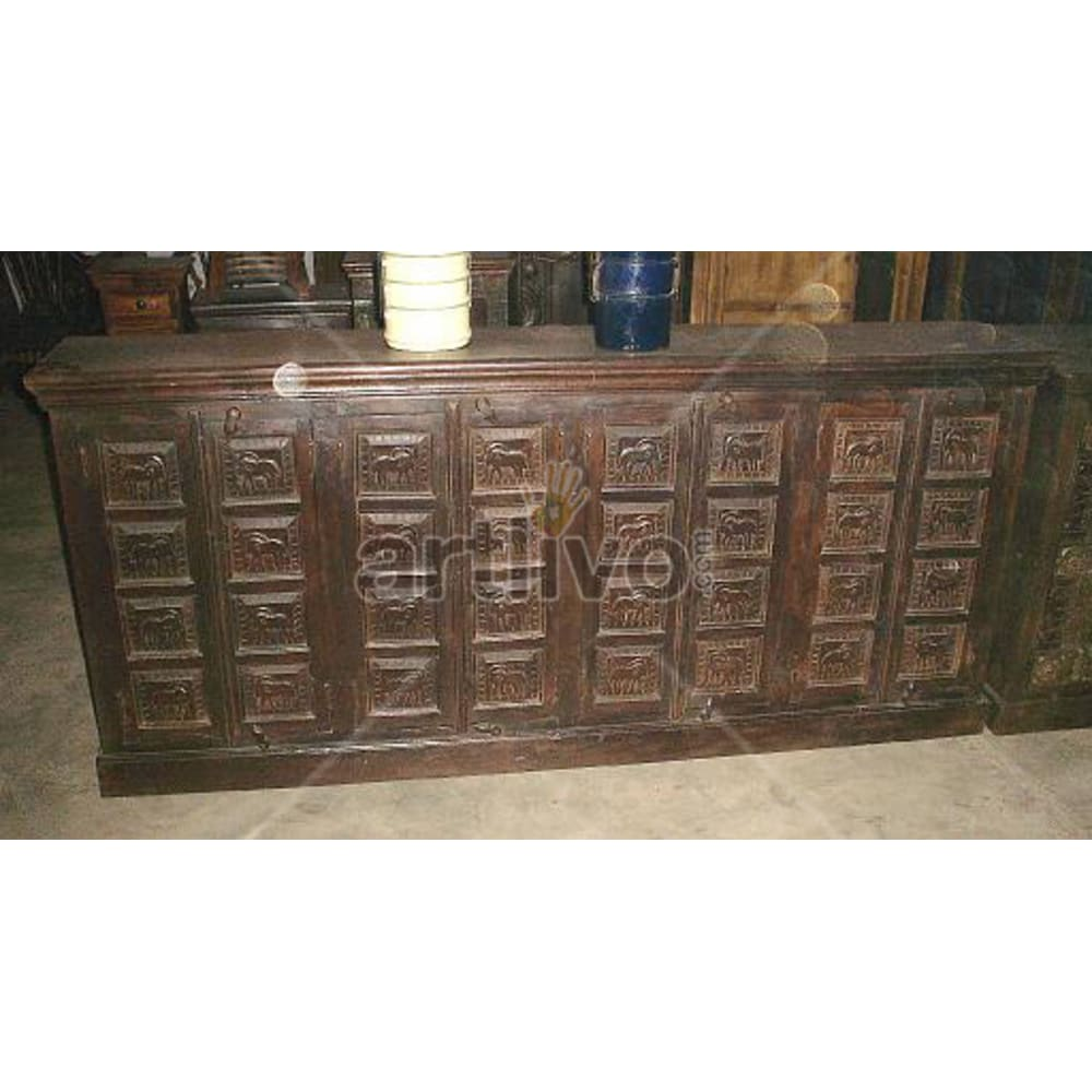 Old Indian Beautiful stately Solid Wooden Teak Sideboard