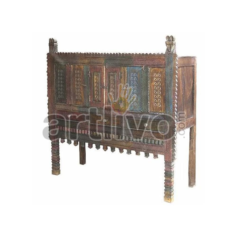 Antique Indian Carved Plush Solid Wood colorfull design Trunk