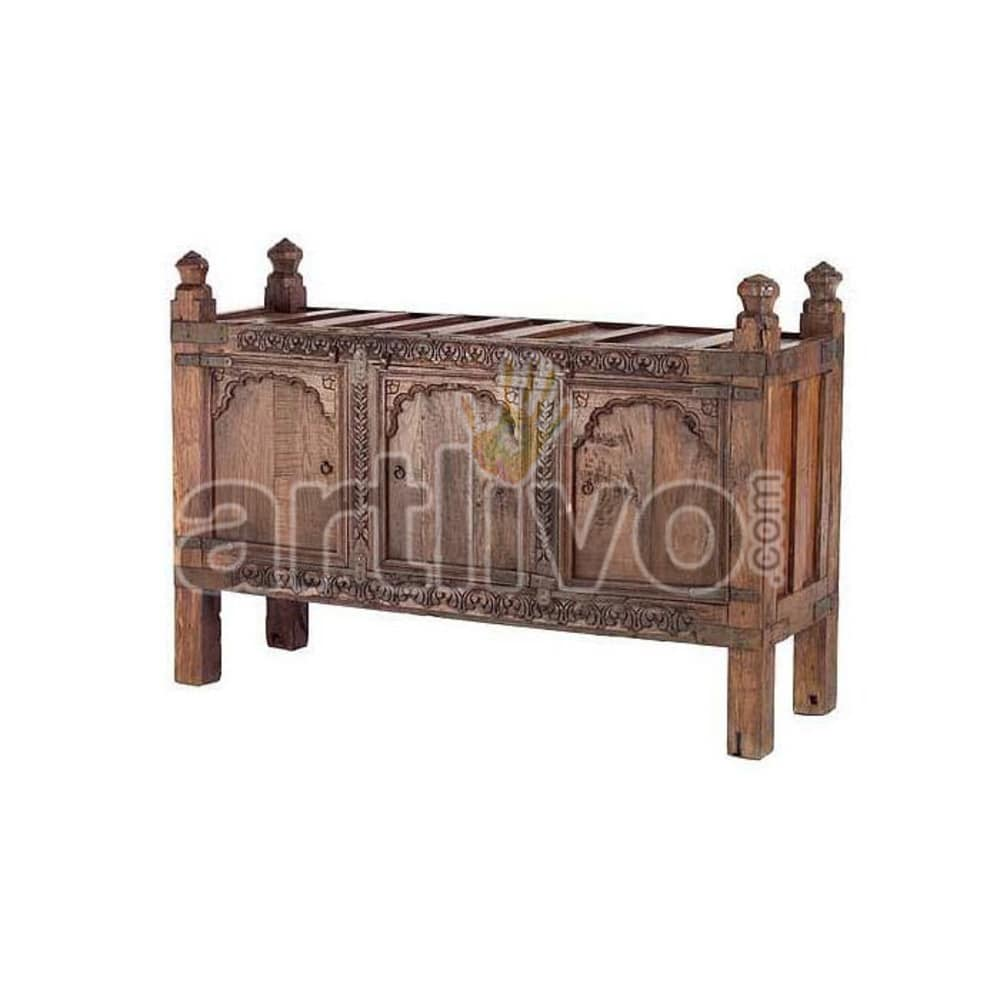 Old Indian Carved Palatial Solid Wood brown color Trunk
