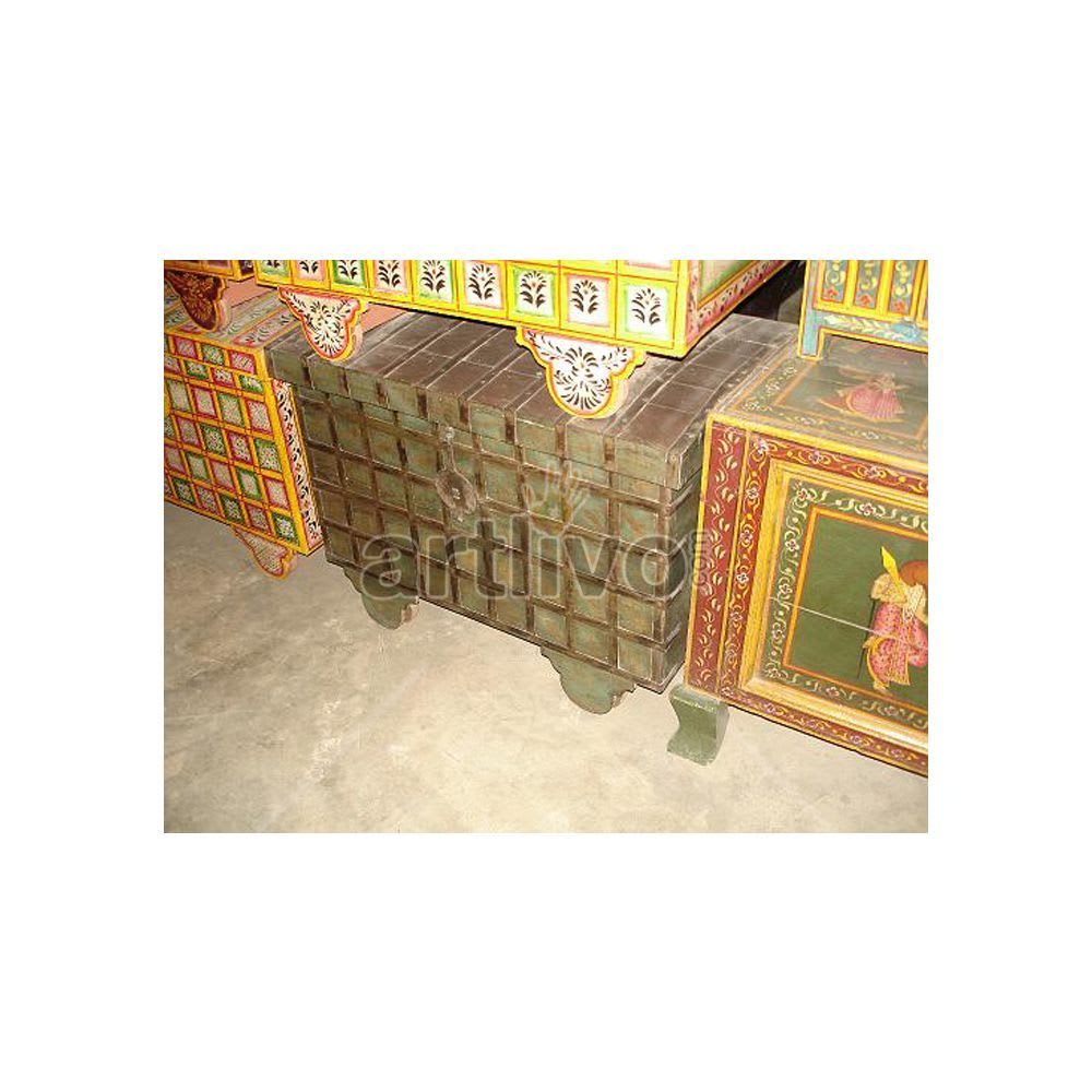Old Indian Carved Splendid Solid Wood Rustic Look Trunk