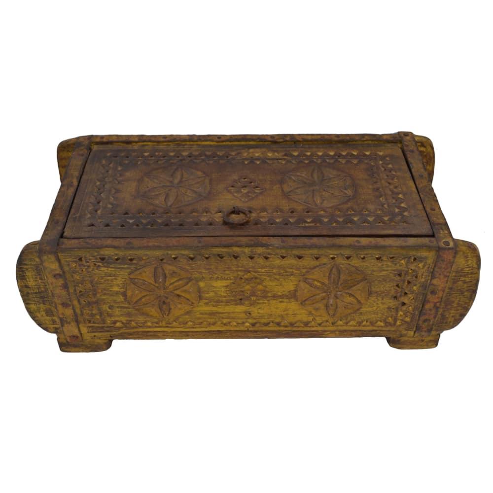 VINTAGE Wooden 2 Niche Rectangular Spice Box - Mustard
