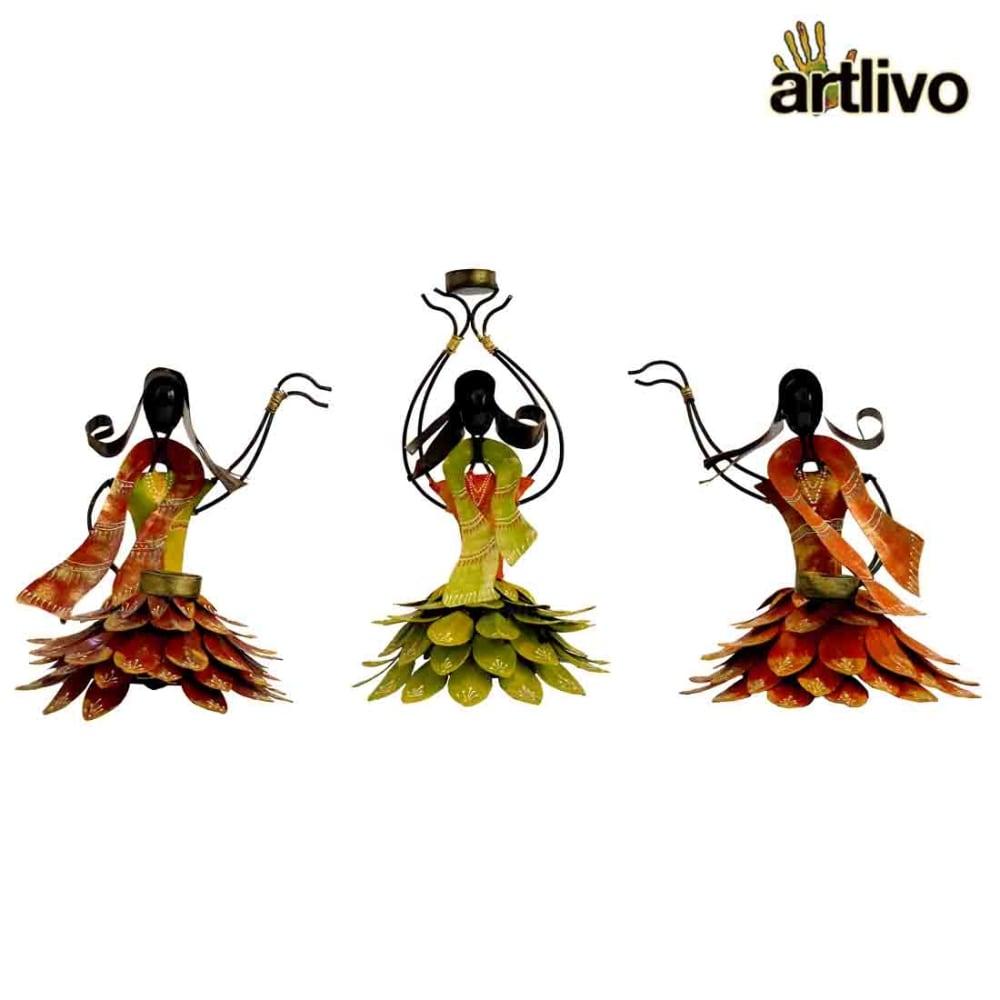 Ferro Fusion Padmavati Dancer Angels Tealight Candle Stand - Set of 3