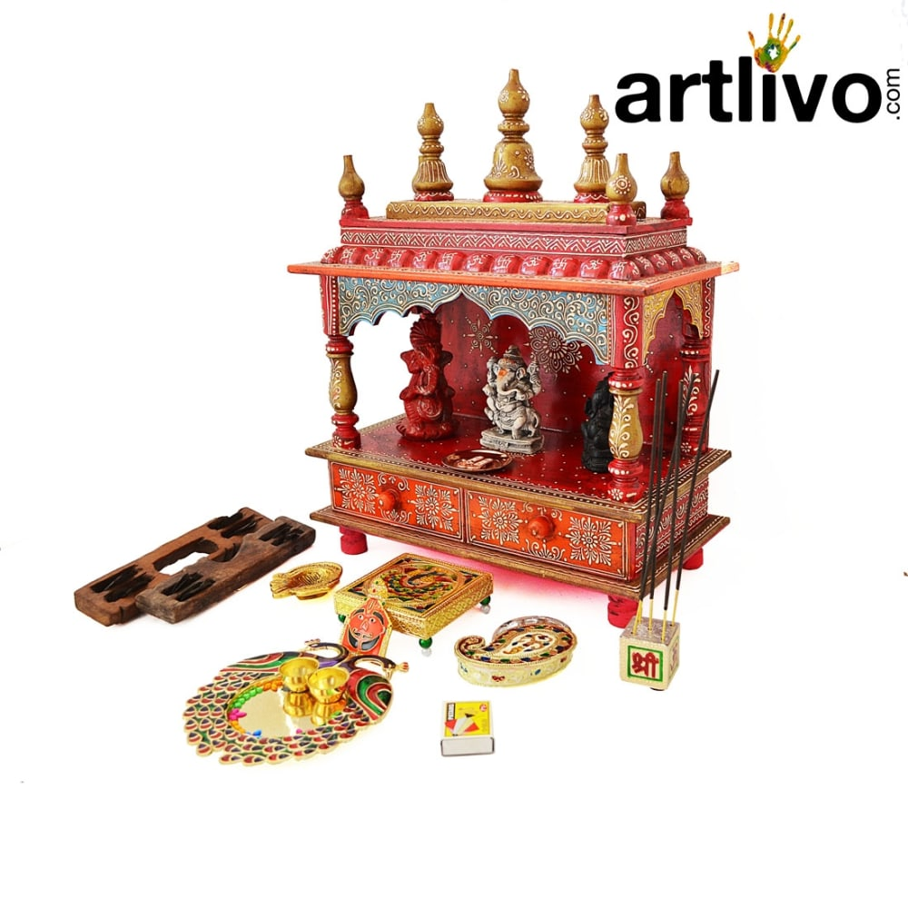 EMBOSSED Dome Mandir with 2 Storage Drawers - MN011