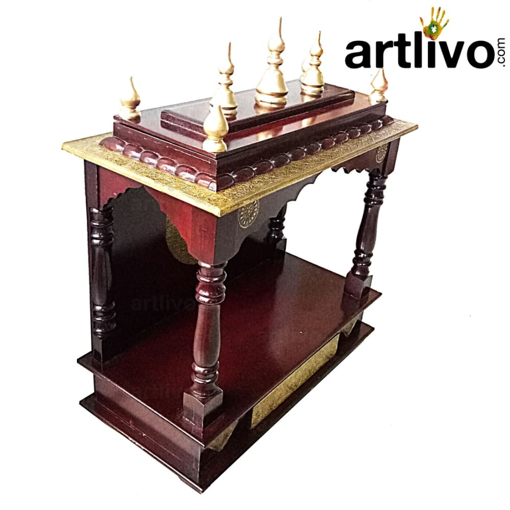 Artlivo Wooden Dome Temple - Brown with brass