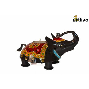 Handpainted Elephant Black Candle Holder