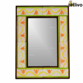 22 Inches Handcrafted Floral Wall Hanging Tile Mirror Frame