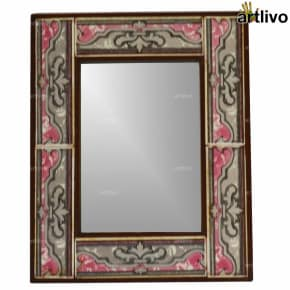 17 Inches Wooden Handcrafted Decorative Tile Mirror Frame