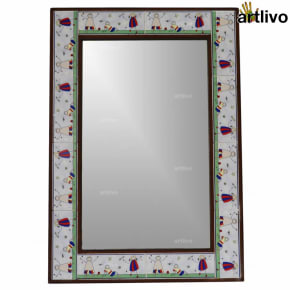 32 Inches Handcrafted Decorative Kids Room Wall Hanging Tile Mirror Frame