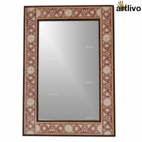 32 Inches Handcrafted Decoartive Bathroom Wall Hanging Tile Mirror Frame