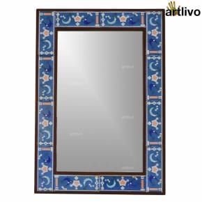 "32"" Birds & Moon Design Wall Hanging Decorative Tile Mirror Frame"