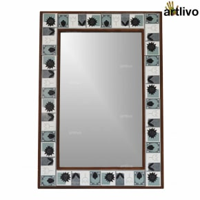 Large Black & White 32 Inches Designer Wall Hanging Tile Mirror Frame