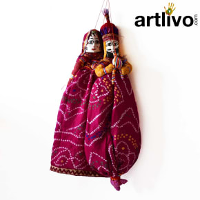 "POPART Dark Pink Chundari Kathputli Puppet 20"" - PU026"