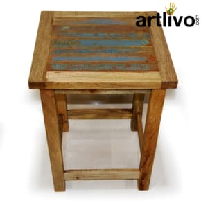 Wooden Rustic Look Dining Stool