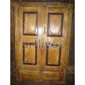 Vintage Indian Sculpted Extravagant Solid Wooden Teak Almirah