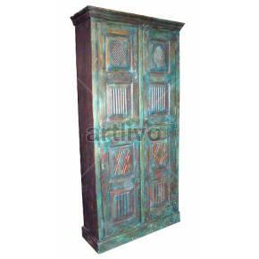 Vintage Indian Sculpted Lavish Solid Wooden Teak Almirah