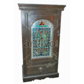 Vintage Indian Sculpted Palatial Solid Wooden Teak Almirah