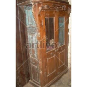 Vintage Indian Beautiful Unique Solid Wooden Teak Almirah