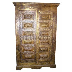 Antique Indian Chiselled stately Solid Wooden Teak Almirah full brass work