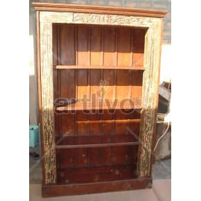 Vintage Indian Carved Extravagant Solid Wooden Teak Bookshelf