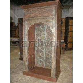 Vintage Indian Carved Stately Solid Wooden Teak Bookshelf