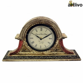 EMBOSSED Ivory-Black Big Face Table Clock