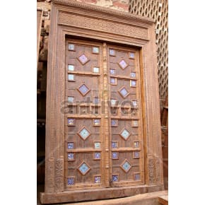 Vintage Indian Carved Plush Solid Wooden Teak Door with multicolor design blocks
