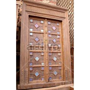 Vintage Indian Carved Plush Solid Wooden Teak Door with multicolor design blocks
