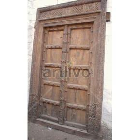 Vintage Indian Carved Noble Solid Wooden Teak Door
