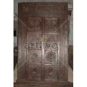 Vintage Indian Brown Lavish Solid Wooden Teak Door