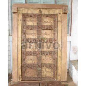 Vintage Indian Brown Magnificent Solid Wooden Teak Door