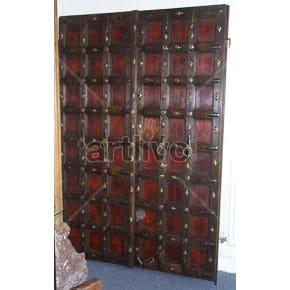 Vintage Indian Chiselled Deluxe Solid Wooden Teak Door