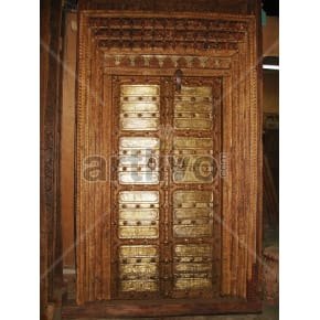 Vintage Indian Chiselled Magnificent Solid Wooden Teak Door with metal work