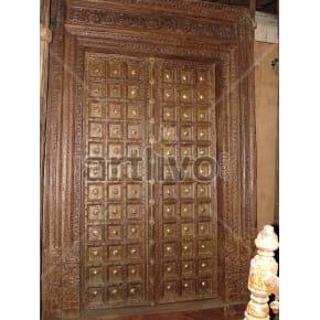 Vintage Indian Engraved Aristocratic Solid Wooden Teak Door