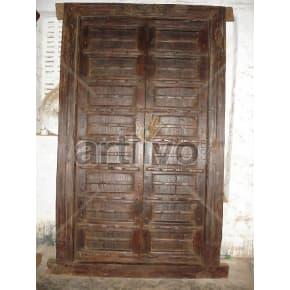 Vintage Indian Engraved Noble Solid Wooden Teak Door