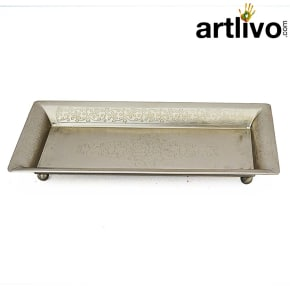 SHINE Silver Metal Serving Tray With Engraving Work