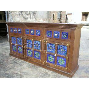 Vintage Indian Carved Extravagant Solid Wooden Teak Sideboard