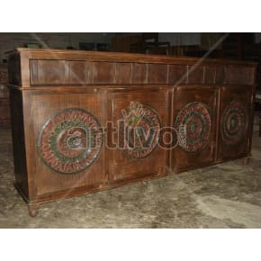 Vintage Indian Carved Superb Solid Wooden Teak Sideboard with 4 door circular design