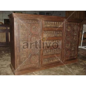 Vintage Indian Brown Unique Solid Wooden Teak Sideboard with 5 drawer in middle and 2 door