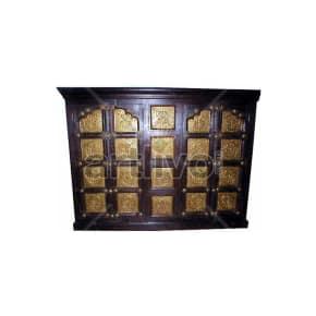 Vintage Indian Brown noble Solid Wooden Teak Sideboard with bronze work on door & Drawer