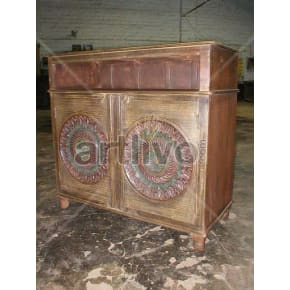 Vintage Indian Chiselled Rich Solid Wooden Teak Sideboard with 2 door circular design