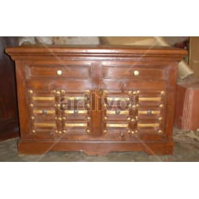 Vintage Indian Chiselled Ostentatious Solid Wooden Teak Sideboard with 4 door & 2 Drawer