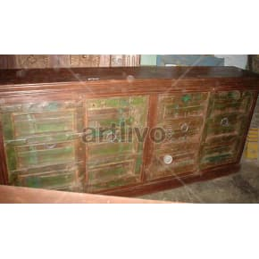 Vintage Indian Chiselled magnificent Solid Wooden Teak Sideboard with 4 door