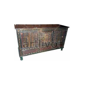 Vintage Indian Engraved Lavish Solid Wooden Teak Sideboard with colorful chisseled work